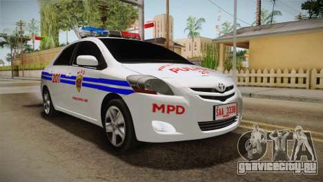 Toyota Vios Philippine Police для GTA San Andreas вид справа