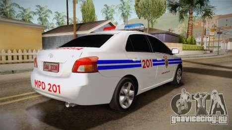 Toyota Vios Philippine Police для GTA San Andreas вид сзади слева