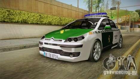 Citroen C4 Guardia Civil для GTA San Andreas вид сзади слева
