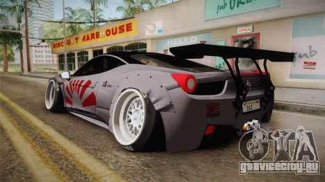 Ferrari 458 Liberty Walk Performance для GTA San Andreas вид слева