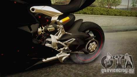 Ducati 1299 Panigale S 2016 Tricolor Black для GTA San Andreas вид изнутри
