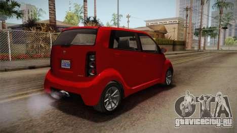 GTA 5 Benefactor Panto 4-doors для GTA San Andreas вид сзади слева