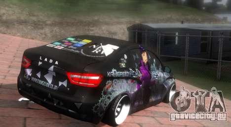 Lada Vesta ITASHA PROJECT NERV MISATO для GTA San Andreas вид сзади слева