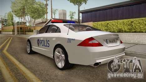 Mercedes-Benz CLS 500 Turkish Police для GTA San Andreas вид сзади слева