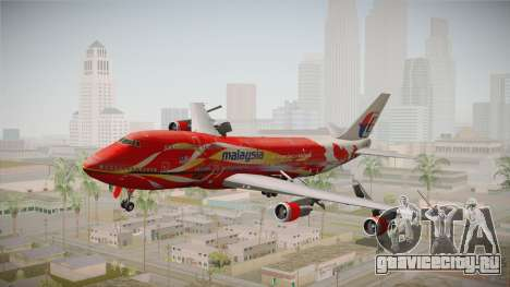 Boeing 747 Malaysia Airlines Hibiscus Livery для GTA San Andreas вид сзади слева