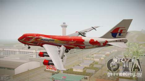 Boeing 747 Malaysia Airlines Hibiscus Livery для GTA San Andreas вид справа