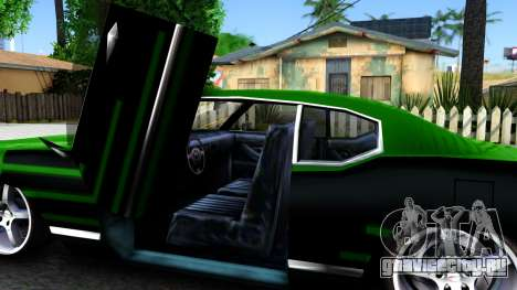 Sabre Drift Green Strips для GTA San Andreas вид изнутри
