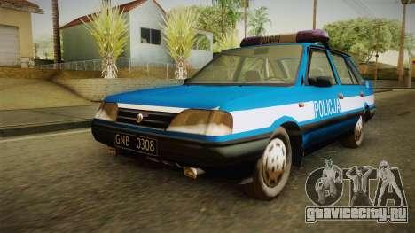 FSO Polonez Atu Policja для GTA San Andreas вид сзади слева