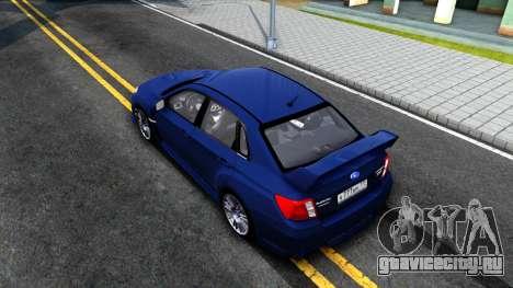 Subaru Impreza WRX STI Sedan 2011 для GTA San Andreas вид сзади