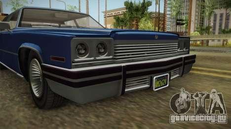 GTA 5 Albany Manana 4-doors IVF для GTA San Andreas вид изнутри