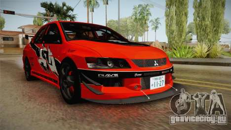Mitsubishi Lancer Evolution IX MR Tokyo Drift для GTA San Andreas вид справа