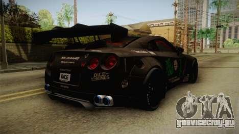 Nissan GT-R LB Walk Team Dice для GTA San Andreas вид сзади слева