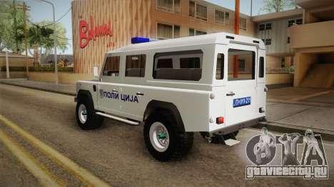 Land Rover Defender 110 Полиција для GTA San Andreas вид сзади слева
