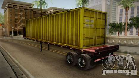 Yellow Trailer Container HD для GTA San Andreas вид сзади слева