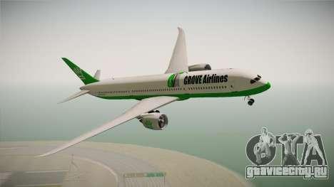 Boeing 787 Grove Airlines для GTA San Andreas вид сзади слева