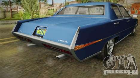 GTA 5 Albany Manana 4-doors IVF для GTA San Andreas вид снизу