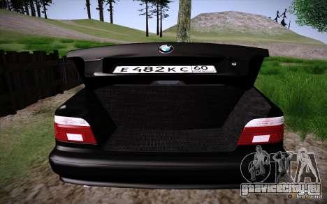 BMW M5 E39 GVR для GTA San Andreas вид сзади