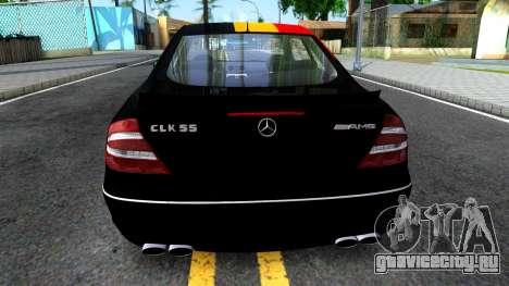 Mercedes-Benz CLK55 AMG 2003 для GTA San Andreas вид сзади слева