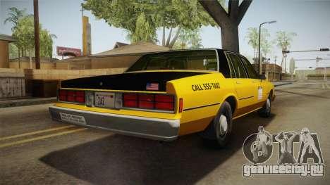 Chevrolet Caprice Taxi 1986 IVF для GTA San Andreas вид сзади слева