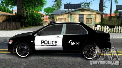 Mitsubishi Lancer Evolution IX Police для GTA San Andreas вид слева