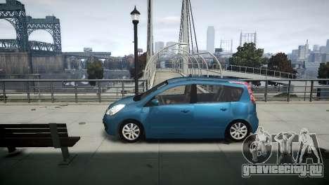 Nissan Note 2009 для GTA 4 вид изнутри