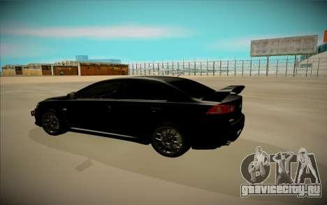 Mitsubishi Lancer X Evo для GTA San Andreas вид слева