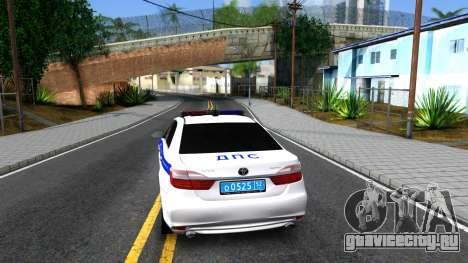 Toyota Camry Russian Police для GTA San Andreas вид сзади слева
