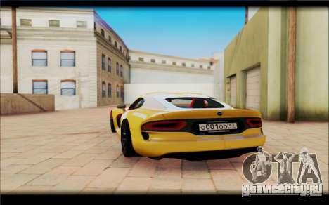 Dodge Viper для GTA San Andreas вид сзади