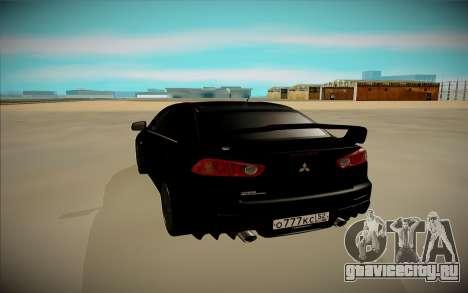 Mitsubishi Lancer X Evo для GTA San Andreas вид сзади