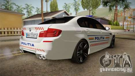 BMW M5 F10 Romanian Police для GTA San Andreas вид сзади слева