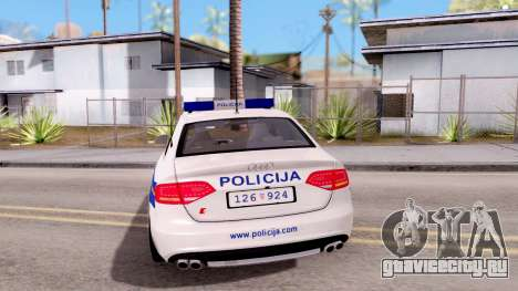 Audi S4 Croatian Police Car для GTA San Andreas вид сзади слева
