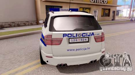 BMW X5 Croatian Police Car для GTA San Andreas вид сзади слева