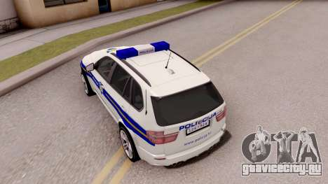 BMW X5 Croatian Police Car для GTA San Andreas вид сзади