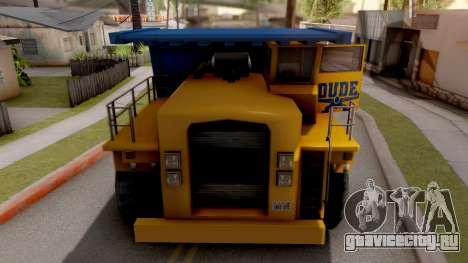 Paintable Dumper для GTA San Andreas вид изнутри