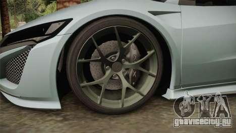Honda NSX 2017 для GTA San Andreas вид изнутри