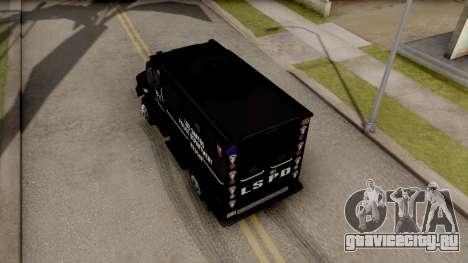 BearCat SWAT Truck для GTA San Andreas вид сзади