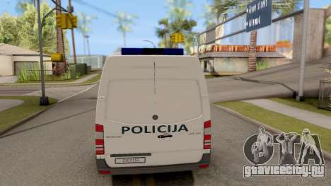 Mercedes-Benz Sprinter BIH Police Van для GTA San Andreas вид сзади слева