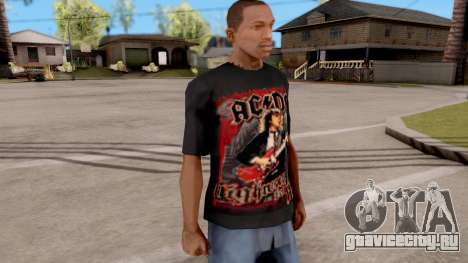 Black T-Shirt AC/DC для GTA San Andreas второй скриншот