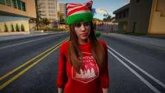 Девушка в новогодней одежде 4 для GTA San Andreas
